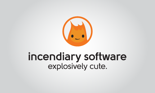 Incendiary Software secondary logo with Burnard in a circle; center layout.