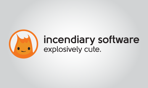 Incendiary Software secondary logo with Burnard in a circle; horizontal layout.