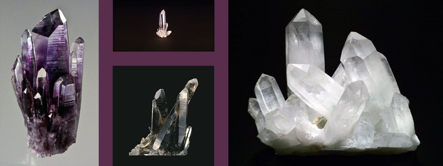 Collage of various quartz crystal clusters.